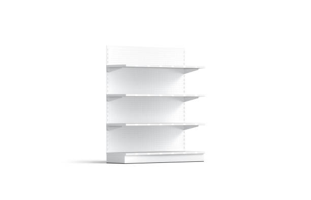 Blank white showcase shelves mockup, half-turned view stock photo