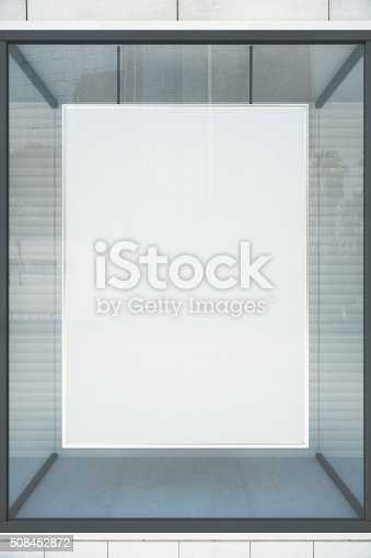 istock Blank white showcase with glassy frame, mock up 508452872