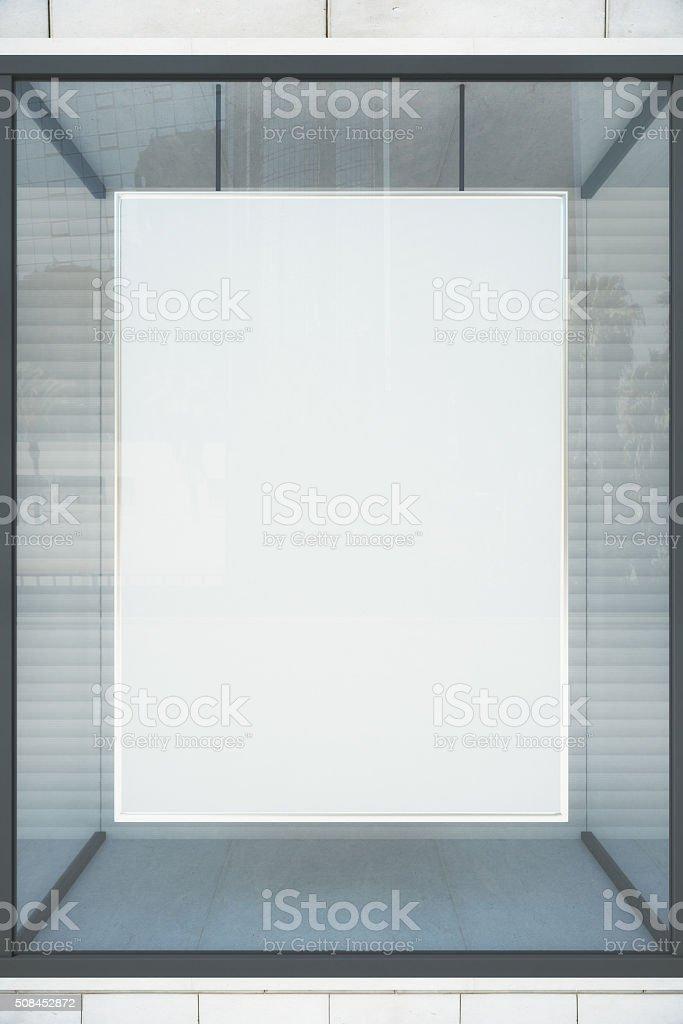 Blank white showcase with glassy frame, mock up stock photo