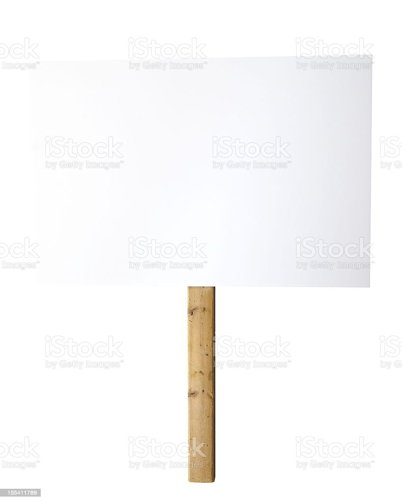 Blank white sign on a wood post against a white background stock photo