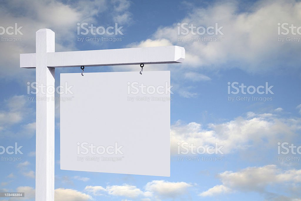blank white sign with clouds background royalty-free stock photo