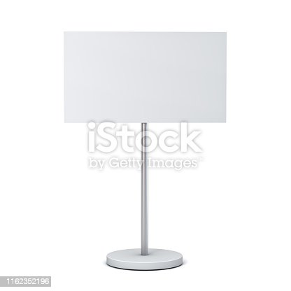 istock Blank white sign with pole stand Blank mock up information signage board or advertising round billboard isolated on white background with shadow 1162352196