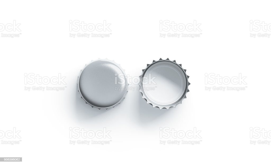 Blank white silver beer lid mockup, front and back side stock photo