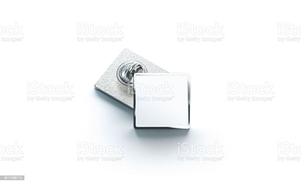 Blank white silver lapel badge mock ups stack stock photo