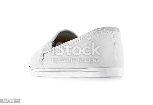 istock Blank white slip-on shoe design mockup, isolated, clipping path 613759144