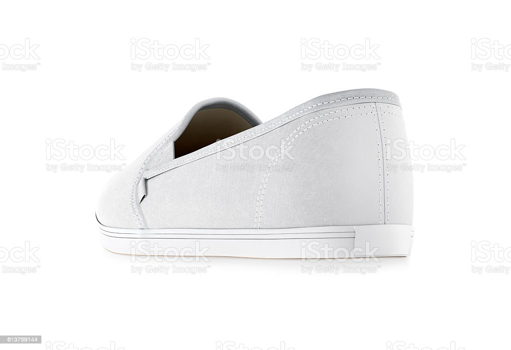 Blank white slip-on shoe design mockup, isolated, clipping path stock photo