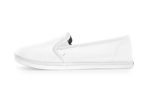 blank white slip-on shoe design mockup, side view, clipping - flat shoe stock photos and pictures