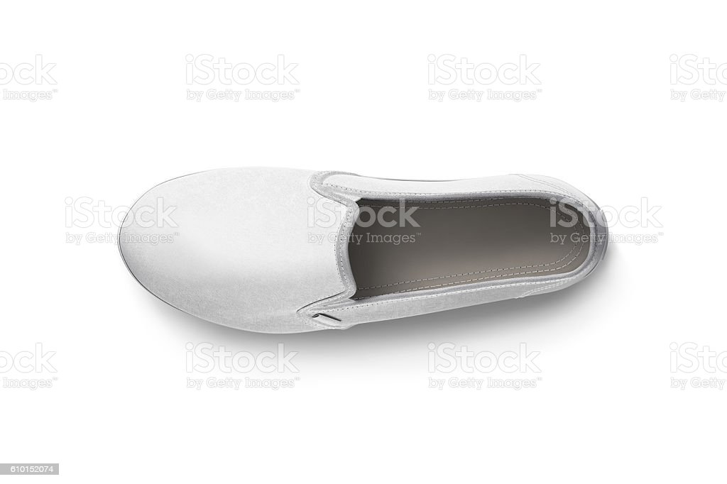 Blank white slip-on shoe design mockup, top view, clipping stock photo