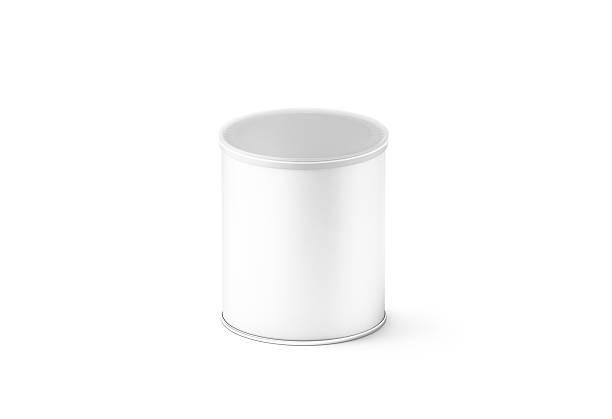 Blank white small carton cylinder box mockup, isolated stock photo