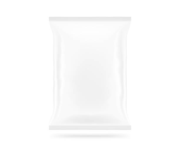 blank white snack bag mock up isolated. clear chips pack - 제품용기 뉴스 사진 이미지