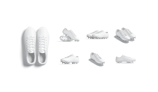Blank white soccer boot with rubber cleats mockup, different sides, 3d rendering. Empty sneakers for running or futsal playing mock up, isolated. Clear leather footwear uniform template.