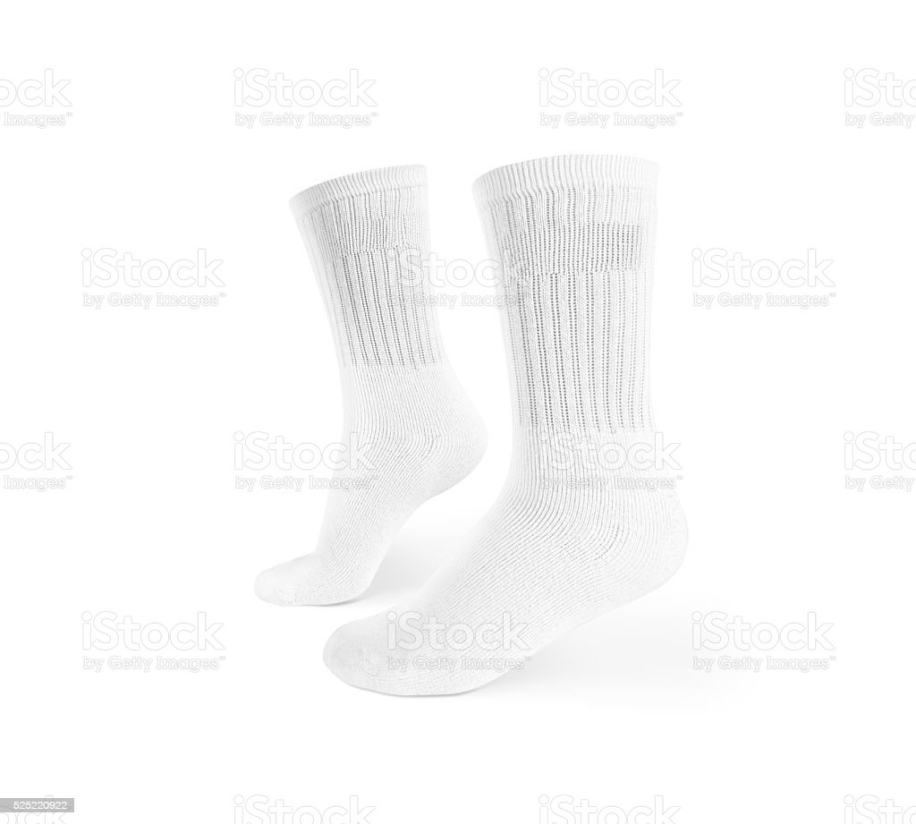 Blank white socks design mockup, isolated, clipping path stock photo