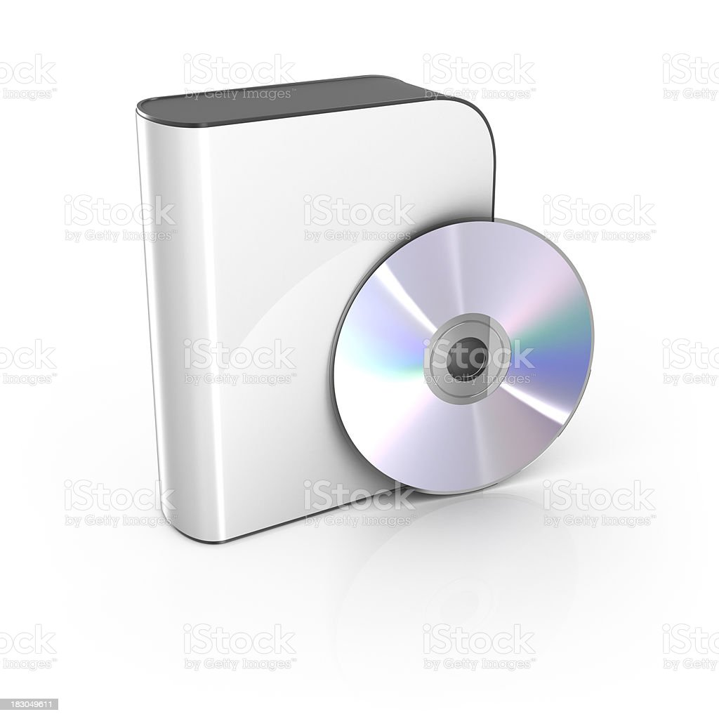 Blank white software box with CD royalty-free stock photo