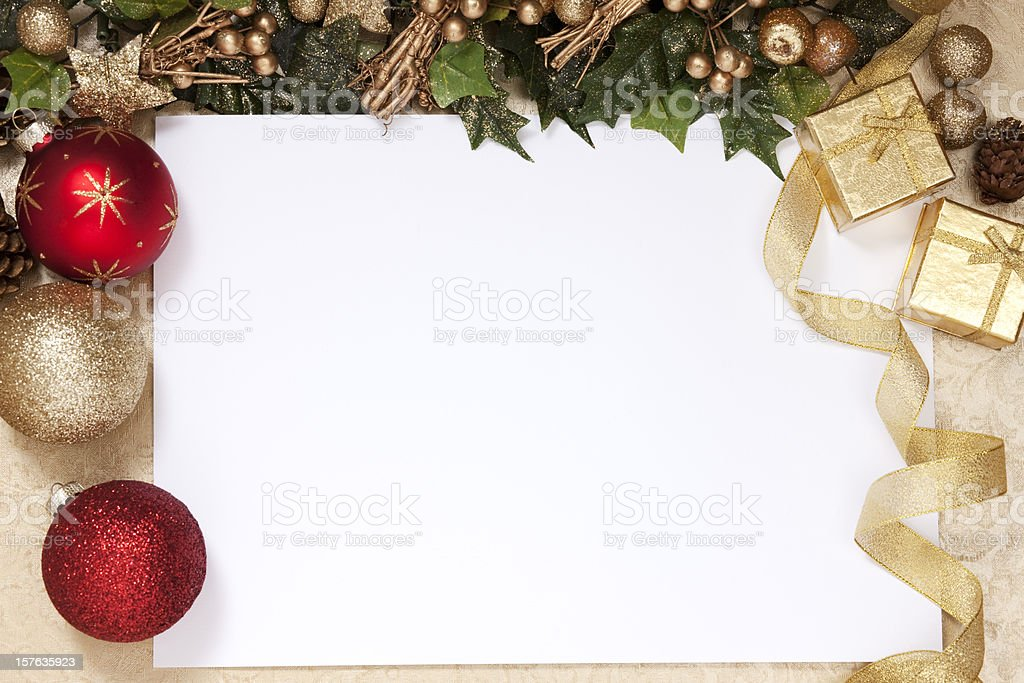 A blank white space surrounded by Christmas decorations royalty-free stock photo