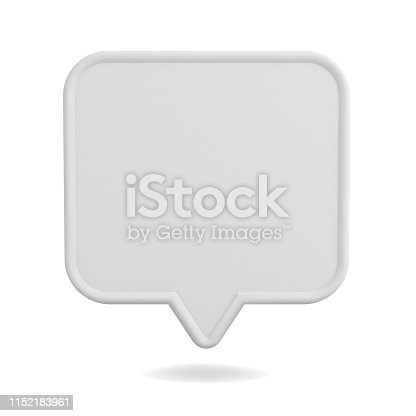 1125351850istockphoto Blank white speech bubble pin isolated on white background with shadow 3D rendering 1152183961