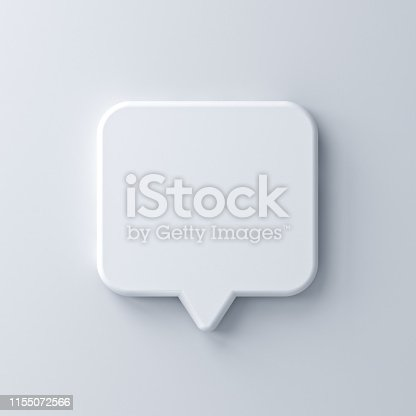 1125351850istockphoto Blank white speech bubble pin isolated on white wall background with shadow 3D rendering 1155072566