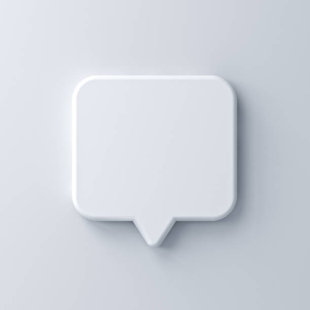 Blank white speech bubble pin isolated on white wall background with shadow 3D rendering Blank white speech bubble pin isolated on white wall background with shadow 3D rendering verbaasd stock pictures, royalty-free photos & images