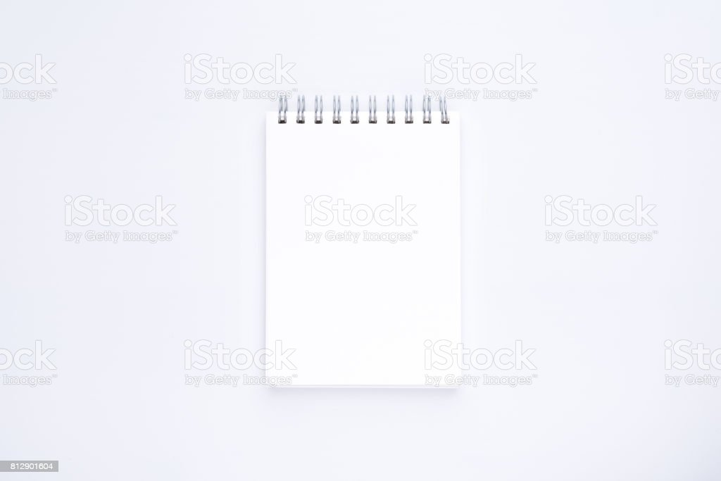 blank white spiral notebook  on white background stock photo