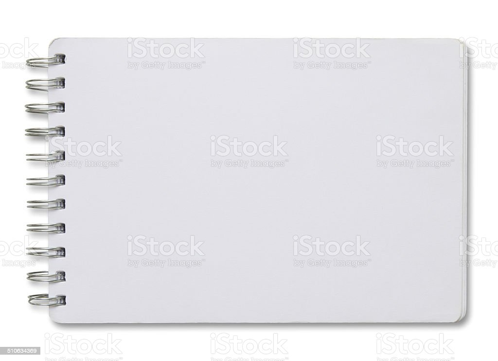 blank white spiral notebook stock photo