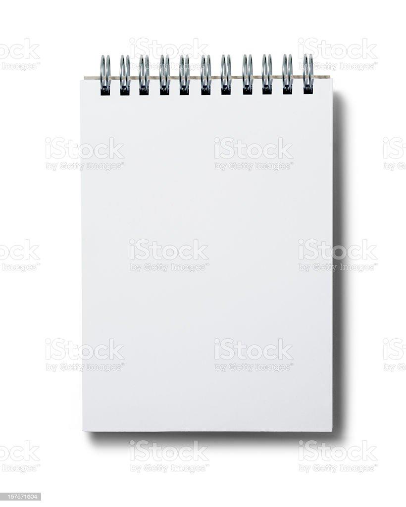 Blank white spiral notepad on white background stock photo