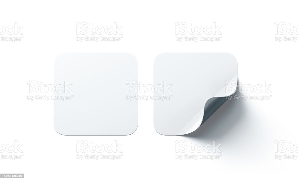 Blank white square adhesive stickers mock up with curved corner stock photo