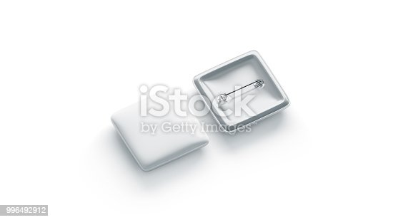 istock Blank white square badge mockup, front and back side, isolated 996492912