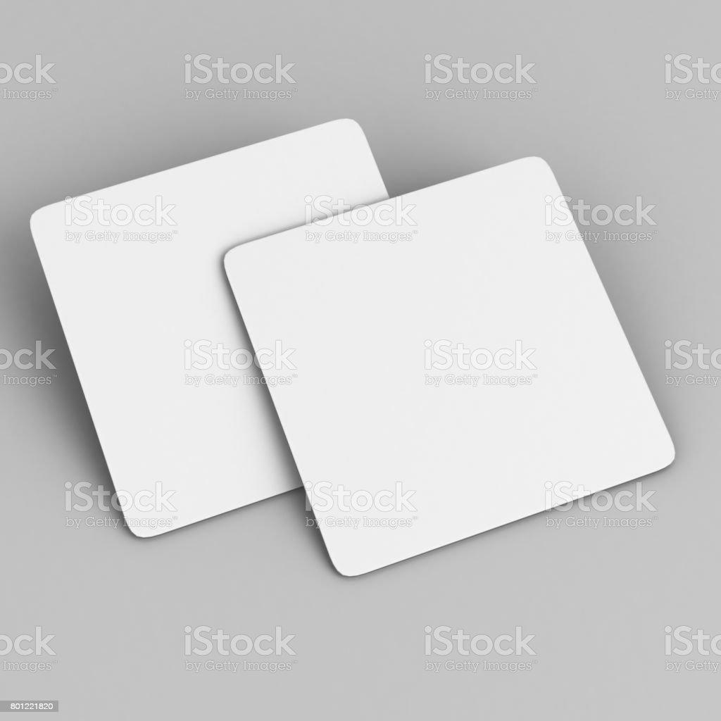 Coaster en blanco blanco cuadrado con esquinas redondeadas sobre fondo aislado, Ilustración 3D listo para su presentación diseño y mock up. - foto de stock