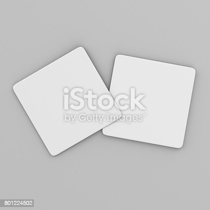 istock Blank White Square coaster with rounded corner on isolated background, 3D Illustration ready for your design presentation and mock up. 801224502