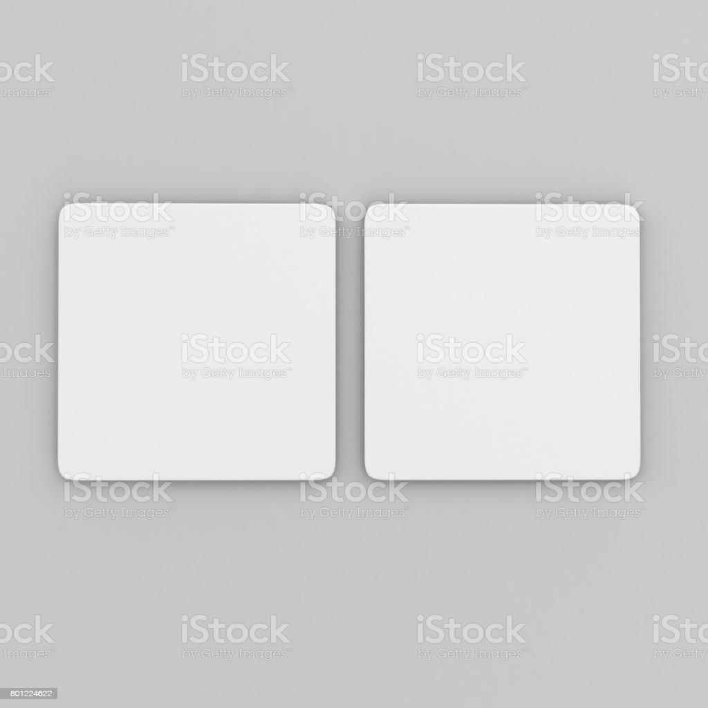 Blank weißes Quadrat Untersetzer mit abgerundeten Ecken auf isolierte Hintergrund, 3D Illustration bereit für Ihre Design-Präsentation und mock-up. – Foto