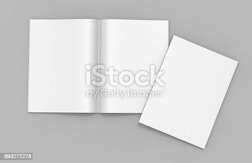 839809942istockphoto Blank white stapled catalog, magazines, booklet mock up on grey  background. 3d render illustration. 893272278
