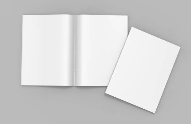 blank white stapled catalog, magazines, booklet mock up on grey  background. 3d render illustration. - magazine cover stock photos and pictures