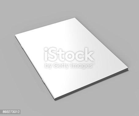 istock Blank white stapled catalog, magazines, booklet mock up on grey  background. 3d render illustration. 893273012