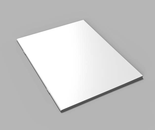 Blank white stapled catalog, magazines, booklet mock up on grey  background. 3d render illustration. stock photo