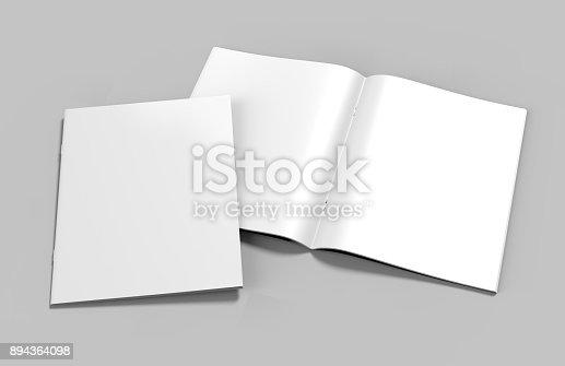 839809942istockphoto Blank white stapled catalog, magazines, booklet mock up on grey  background. 3d render illustration. 894364098