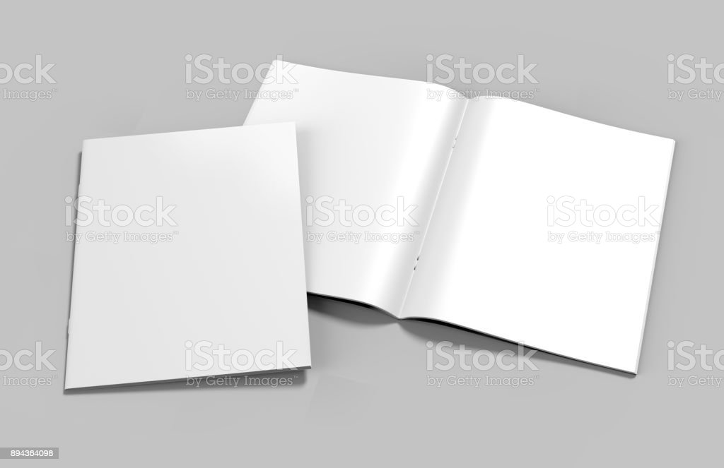 Blank white stapled catalog, magazines, booklet mock up on grey  background. 3d render illustration. - fotografia de stock