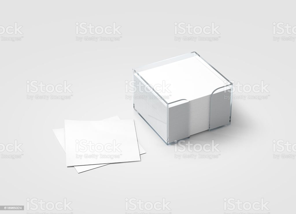Blank white sticker note block plastic holder mockup stock photo