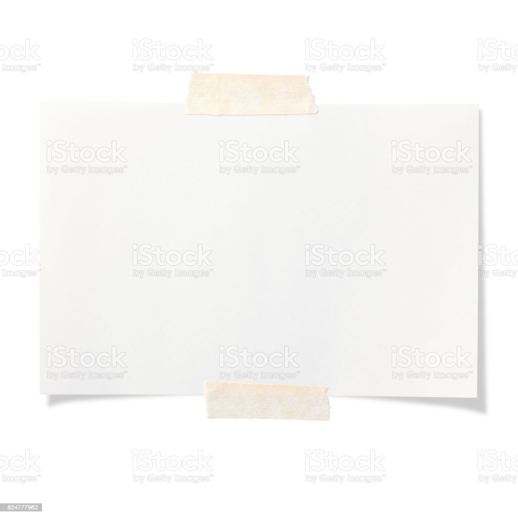 Blank white sticky note isolated on white background stock photo