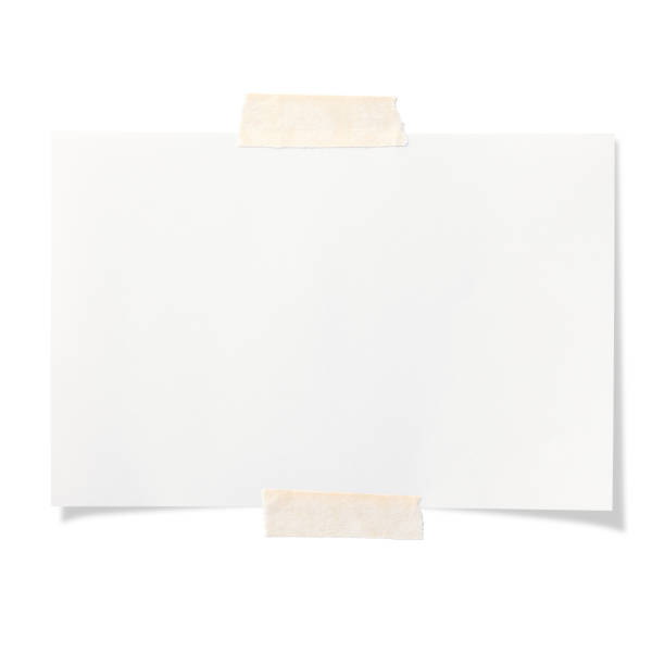 blank white sticky note isolated on white background - adhesive tape stock photos and pictures