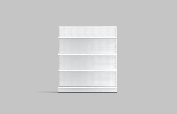 Blank white supermarket showcase shelves mock up, front view stock photo