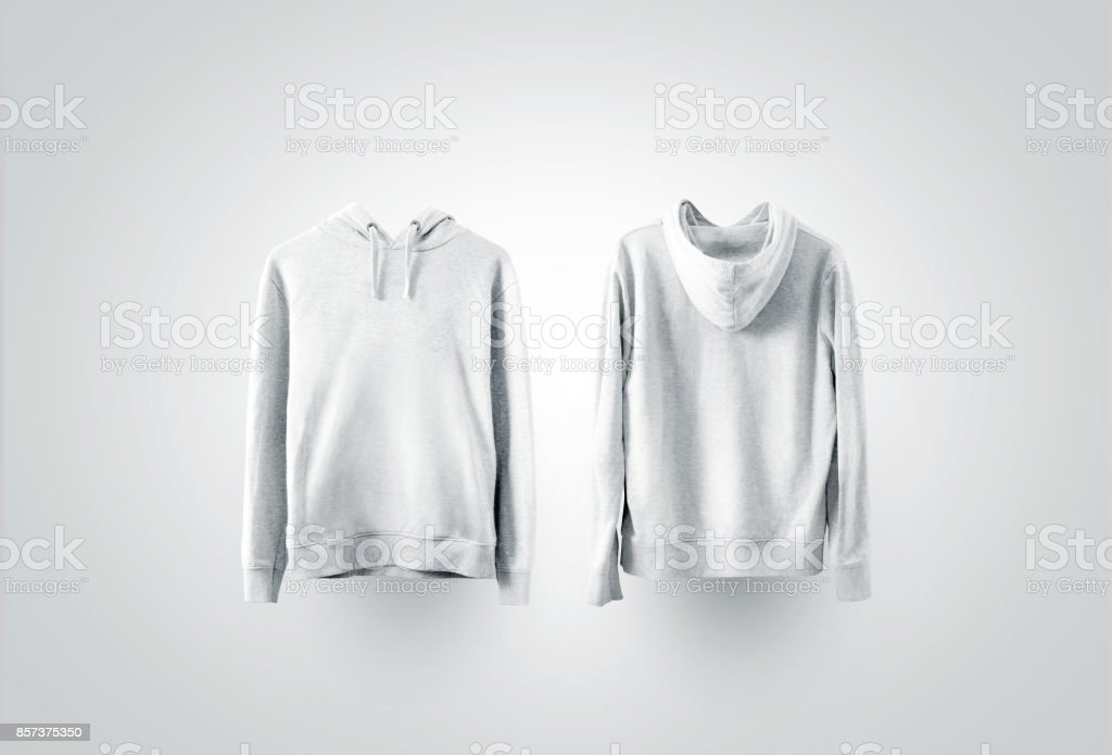 Blank white sweatshirt mockup set, front and back side view stock photo