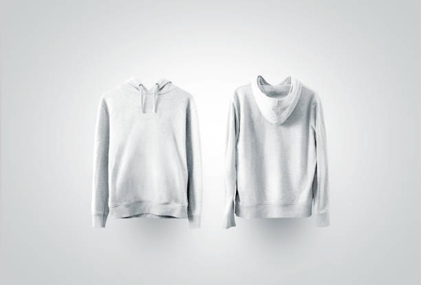 blank white sweatshirt mockup set, front and back side view - sweatshirt stock photos and pictures
