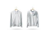 istock Blank white sweatshirt mockup set hanging on wooden hanger 656172504