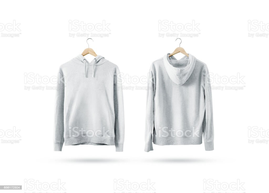 Blank white sweatshirt mockup set hanging on wooden hanger stock photo