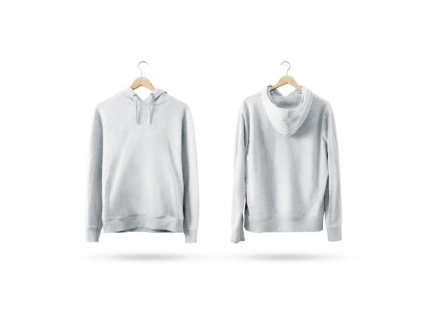 Blank white sweatshirt mockup set hanging on wooden hanger Blank white sweatshirt mockup set hanging on wooden hanger, front and back side view. Empty sweat shirt mock up on rack. Clear cotton hoody template. Plain textile hoodie. Loose overall jumper. coat garment stock pictures, royalty-free photos & images