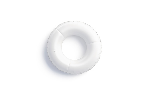 Blank white swim ring mock up isolated, top view, 3d rendering. Empty sport floaty circle mockup for swimmin. Clear rubber saver and preserver mokcup for water template.