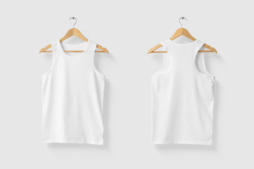 Blank White Tank Top Shirt Mock-up on wooden hanger, front and rear side view. High resolution.