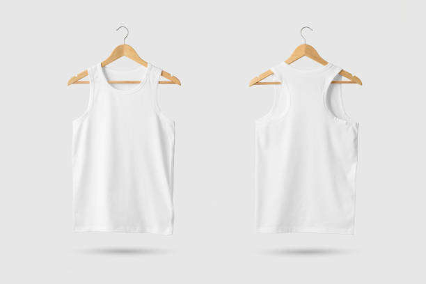 Blank White Tank Top Shirt Mock-up on wooden hanger, front and rear side view. stock photo