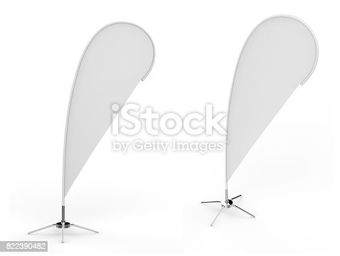 istock Blank white teardrop bow flag outdoor advertising shield beach flag banner or vertical wind banner mock up template isolated on white background. 822390482