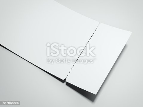 blank white tearoff ticket 3d rendering stock photo more pictures