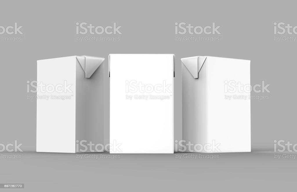 Em branco branco Tetra pacote caixa suco & leite pack renderização realista de branco para simulação acima modelo de design. Ilustração 3D - foto de acervo